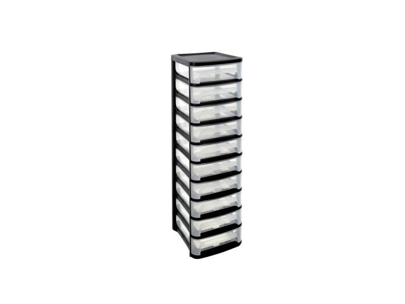 Eda tour de rangement city - 10 tiroirs - noir et transparent - Vente de Bureau à composer ...