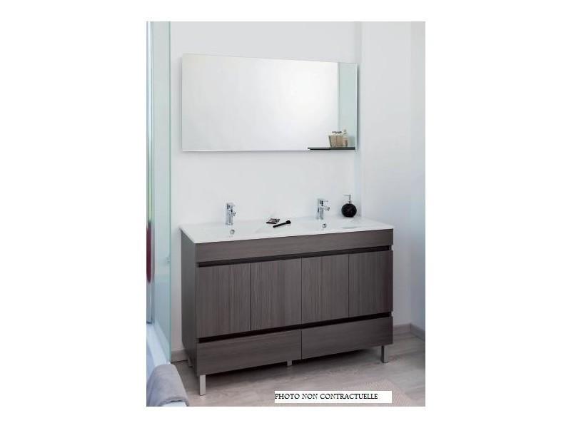 Aqua+ - meuble salle de bain gris foncé chamonix à poser 80cm portes ...