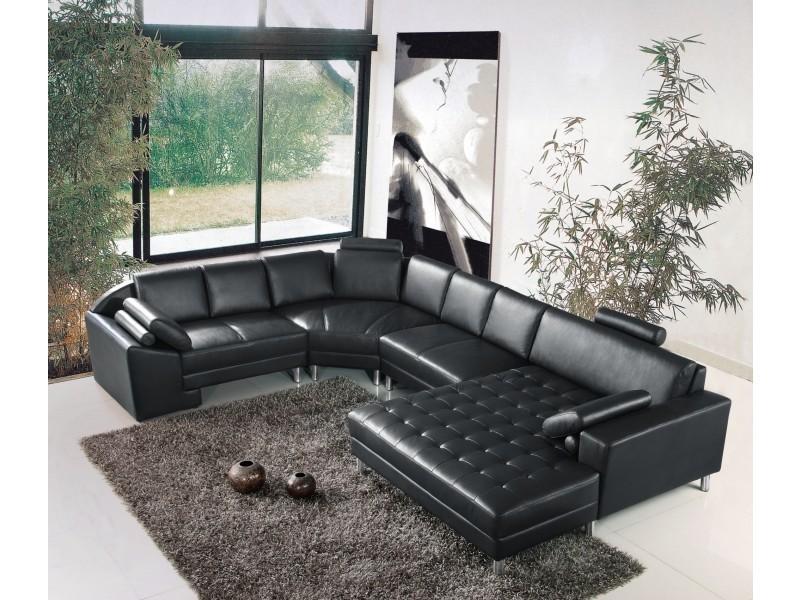 Canapé d'angle panoramique en cuir noir houston-