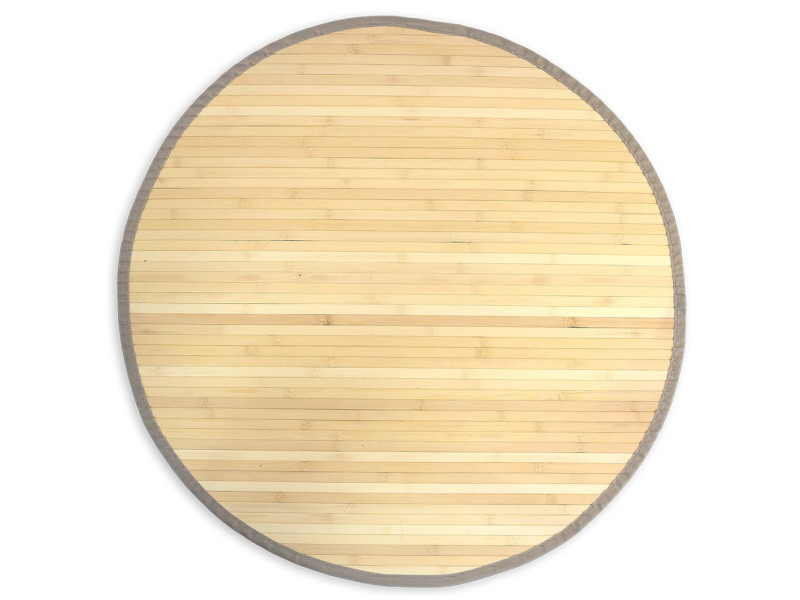 Superbe tapis bambou rond 150 cm naturel semi-brillant
