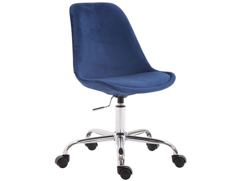 Chaise de bureau sur roulettes en tissu velours bleu