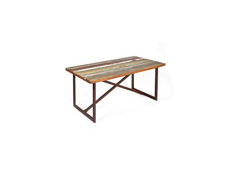 Table repas en bois recyclé et métal - atelier metal