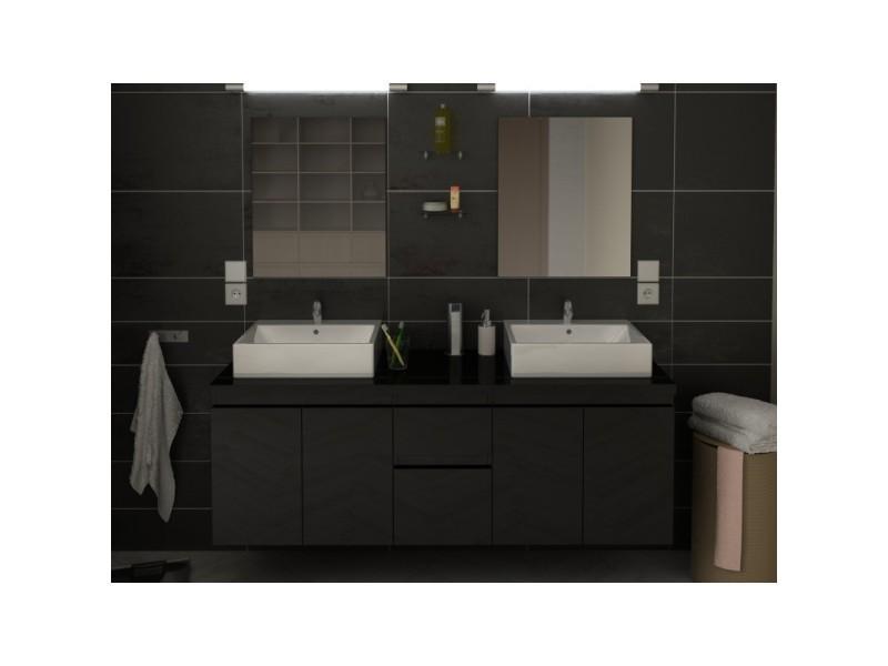 Meuble de salle de bain double vasque 150 cm noir coralie Meuble salle de bain 50 cm