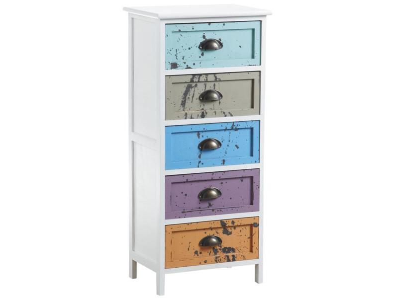 Commode en bois avec 5 tiroirs multicolores - 40 x 29 x 90 cm -pegane- PEGANE