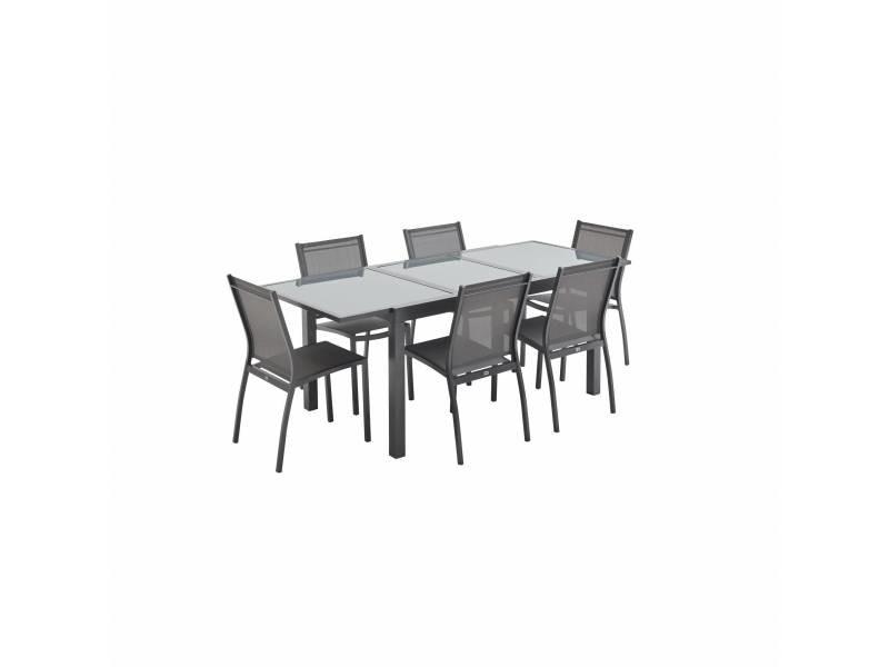 Salon de jardin table extensible - orlando gris foncé - table en ...
