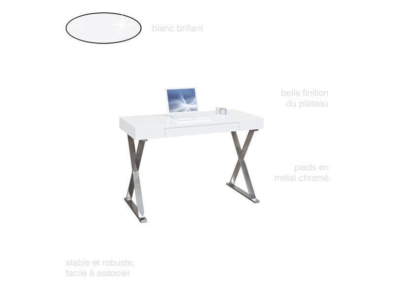 Bureau Moderne Chic Tiroir Rangement Blanc Laque Brillant Et