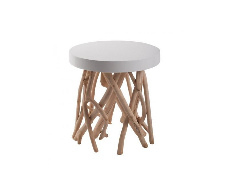 Table basse bois flotté scandinave cumi zuiver - couleur - blanc 4000615