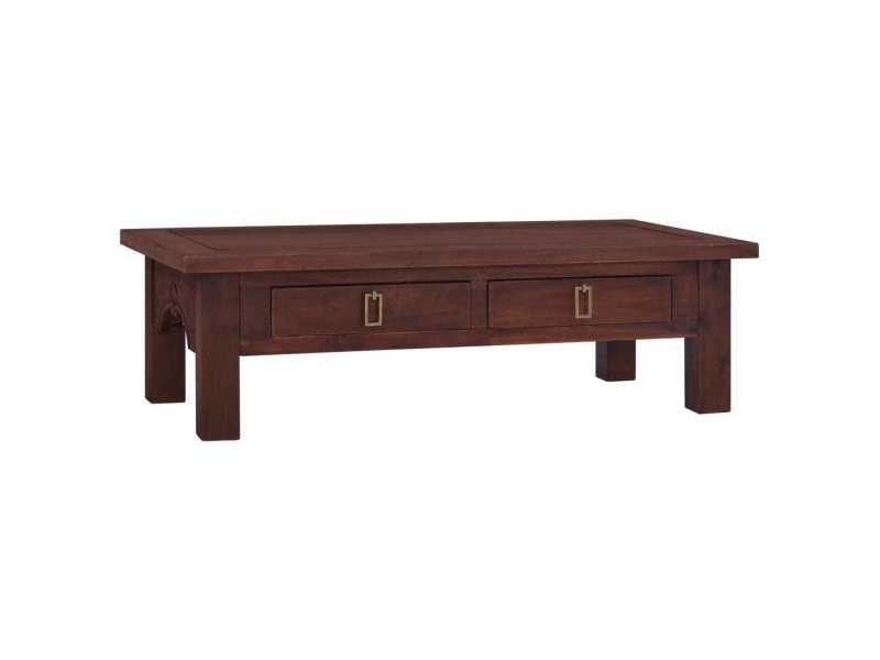 Vidaxl table basse marron classique 100x50x30 cm bois d'acajou massif 288828