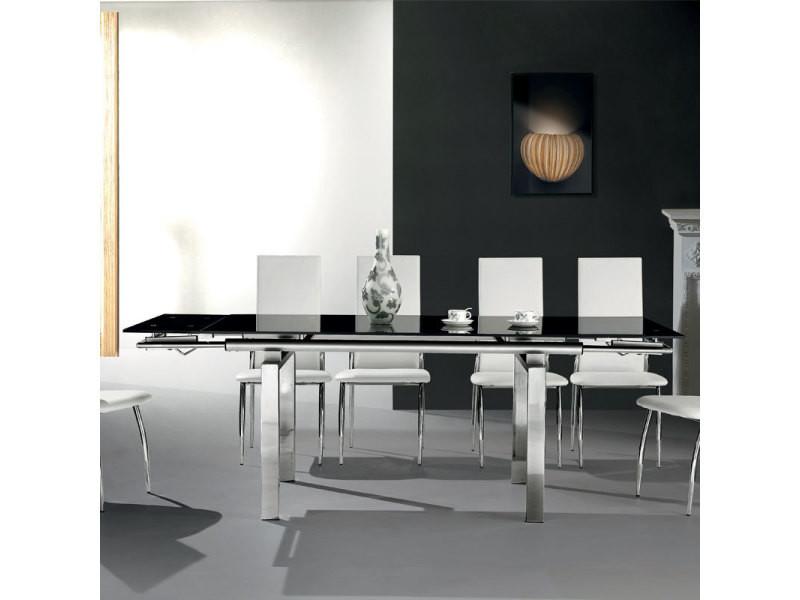 Table à manger en verre noir et métal chromé juline - Vente ...