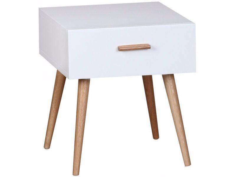 Table de chevet design scandinave 40 cm à tiroir avec piétement en ...