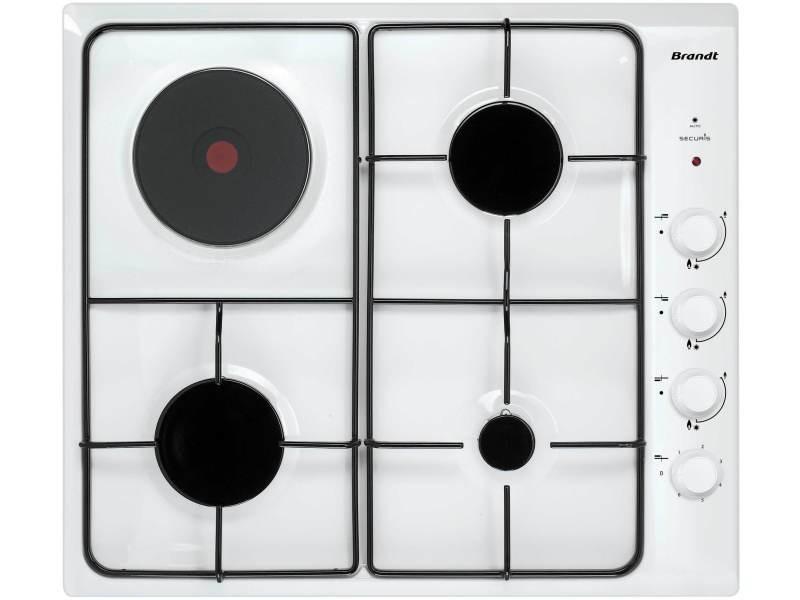 table de cuisson mixte gaz et électrique 58cm 4 feux blanc