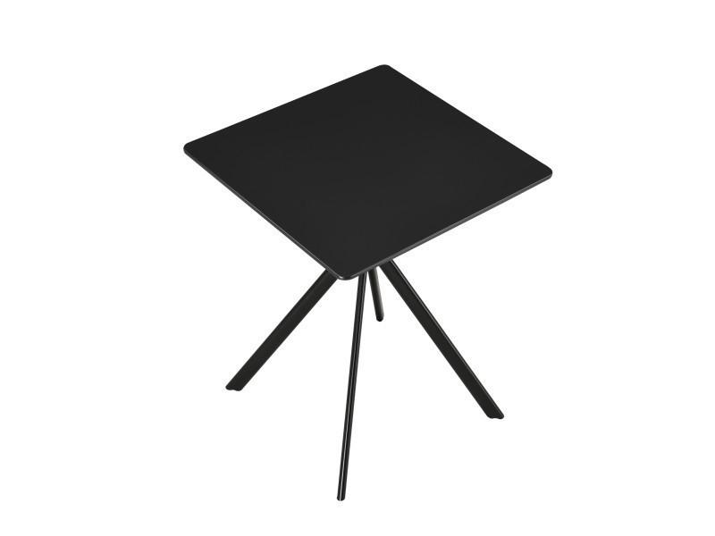 [en.casa] Table à Manger Salle à Manger Table De Cuisine Pour 2 Personnes  Mdf Et Métal Revêtu Par Poudre 60cm X 60cm X 75cm Noir