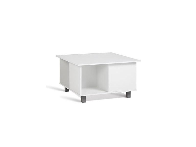 Table basse carrée 65,6 cm sur roulette blanc