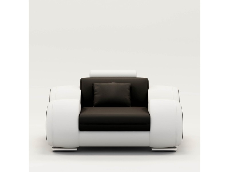 Fauteuil cuir relax design noir et blanc oslo