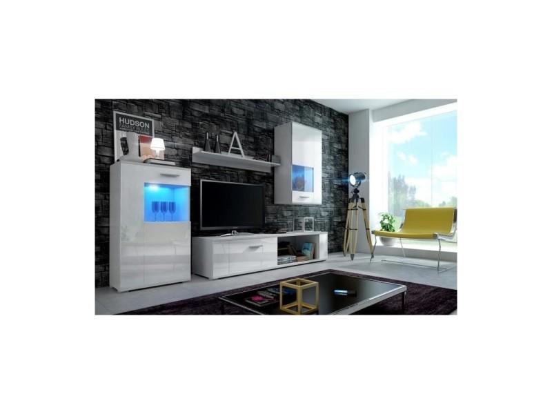 Meuble De Salon Meuble Tv Complet Fox Blanc Mat Façades