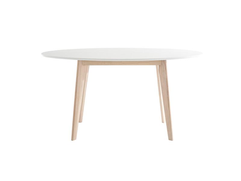 Table Ovale Blanche Et Bois Clair L150 Cm Leena Vente De Miliboo