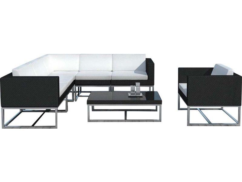 Salon de jardin en résine tressée noire - bali SD1001-BLACK ...