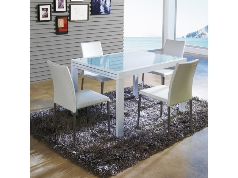 Table A Manger Design Extensible Verre Et Blanche 90x120 240cm Par
