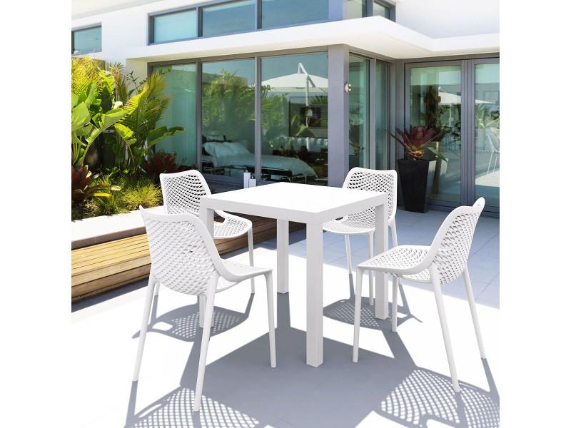 Salon de jardin blanc 4 places en polypropylène - siesta ...