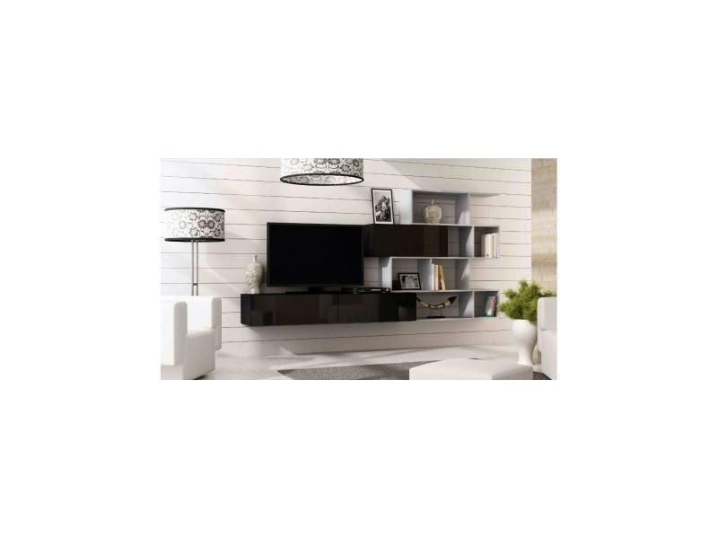 Ensemble tv vigo box 180 noir et gris - couleur: noir - etagères: etagère turquoise