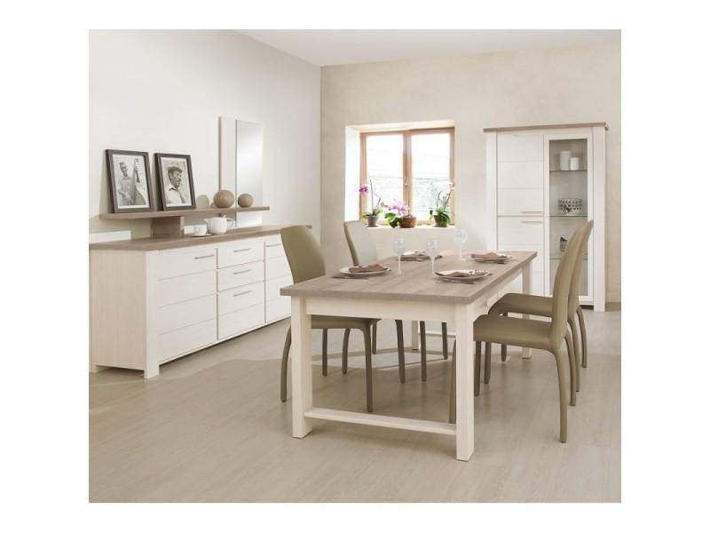 Salle à manger complète frêne blanchi - pompei - l 180 x l ...