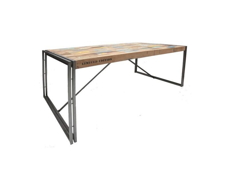 Table de repas en bois 250 cm - industry - l 250 x l 100 x h 78 - neuf