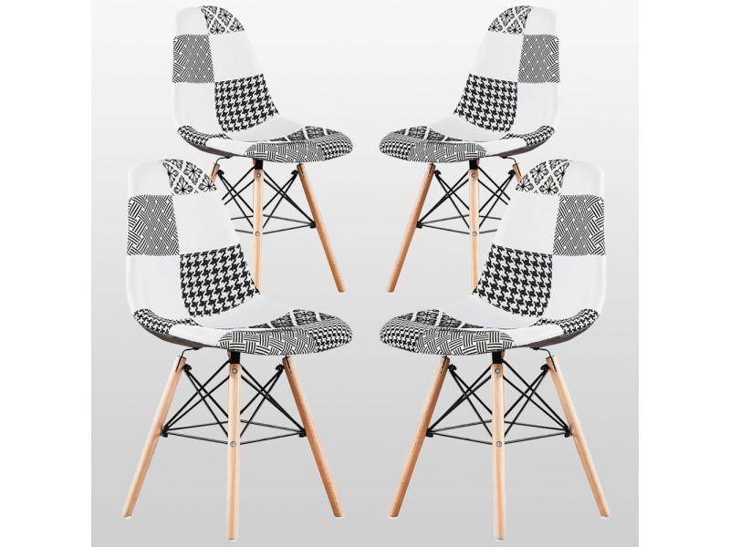Lot de 4 chaises en tissu patchwork et métal noir - noir & blanc