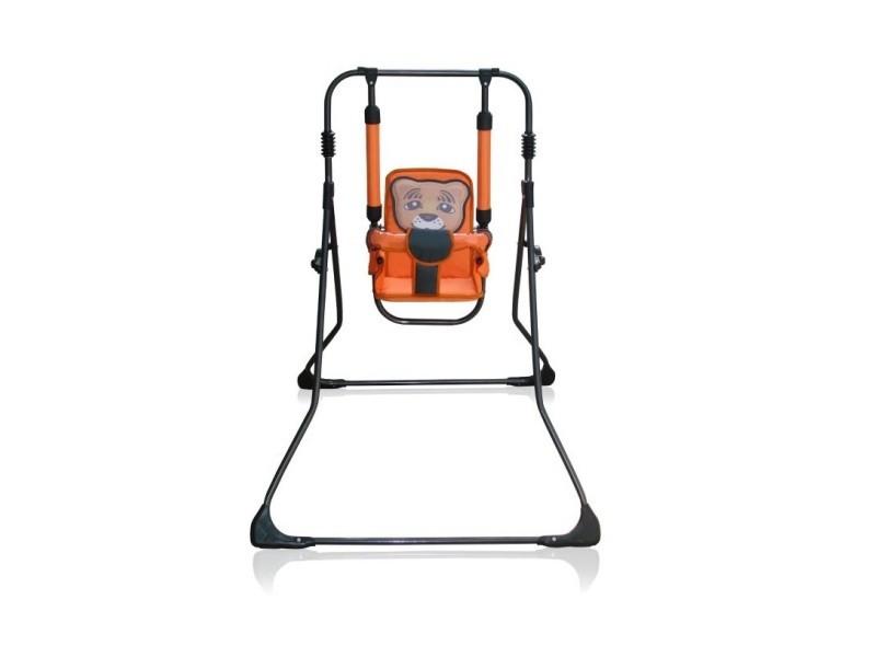 Balancelle berceau transat chaise haute 12m+ bébé enfant - samba plus 4en1   tigre orange / cadre noir