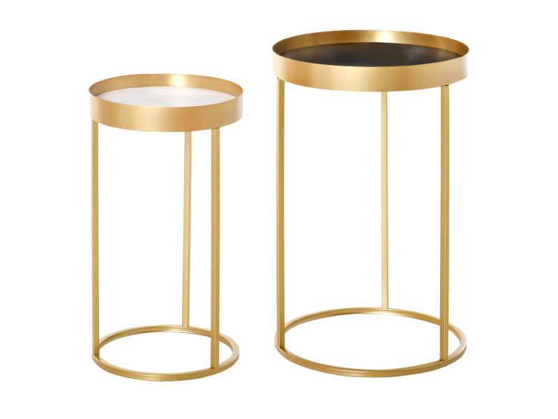 Tables gigognes lot de 2 tables basses rondes design style art déco ø 39 et ø 30 cm métal doré mdf blanc et noir