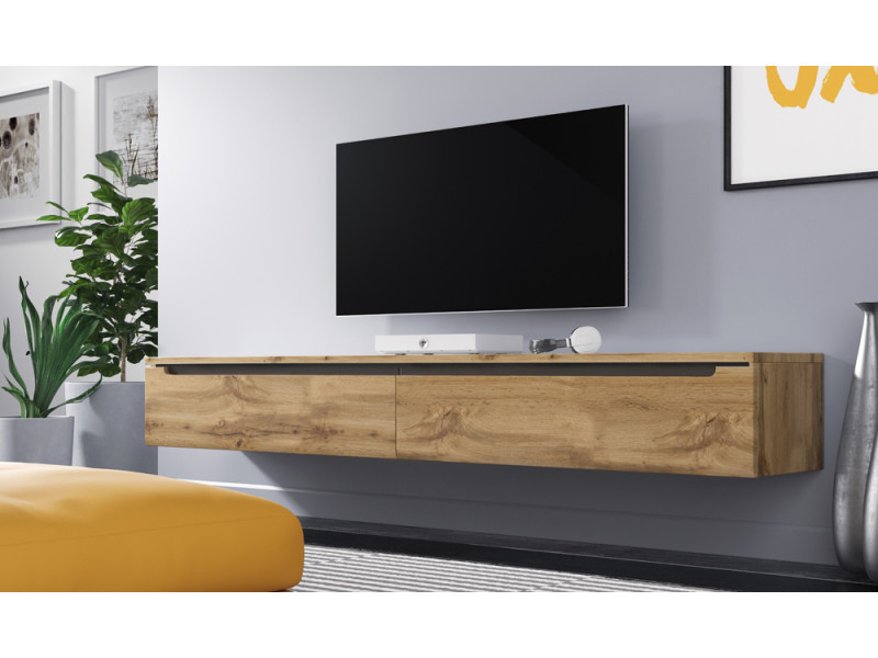 meuble tv meuble de salon swift 180 cm effet ch ne. Black Bedroom Furniture Sets. Home Design Ideas