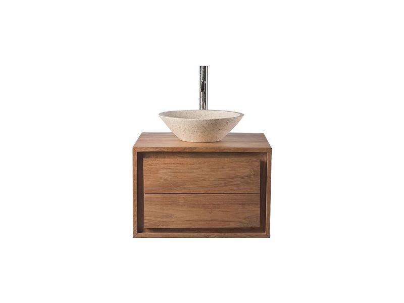 Meuble de salle de bains avec rangement en teck sans - Meuble vasque salle de bain conforama ...
