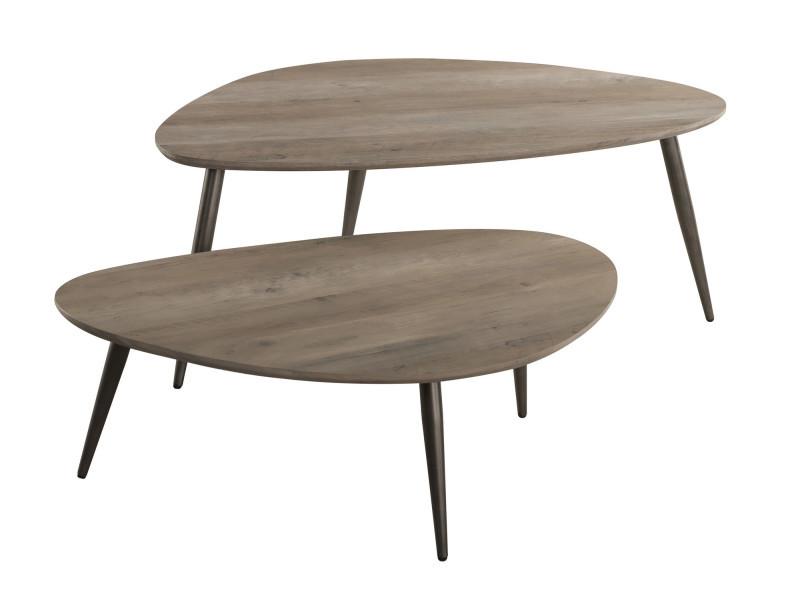 Ensemble De 2 Tables Basses Design Scandinave Plateau Triangulaire