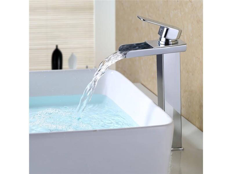 Grand robinet salle de bain mitigeur de lavabo chromé robinet ...