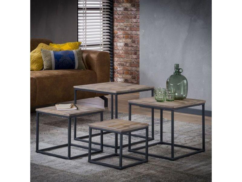 Ensemble de tables basses industrielles avec piétement métallique (lot de 4) salomé