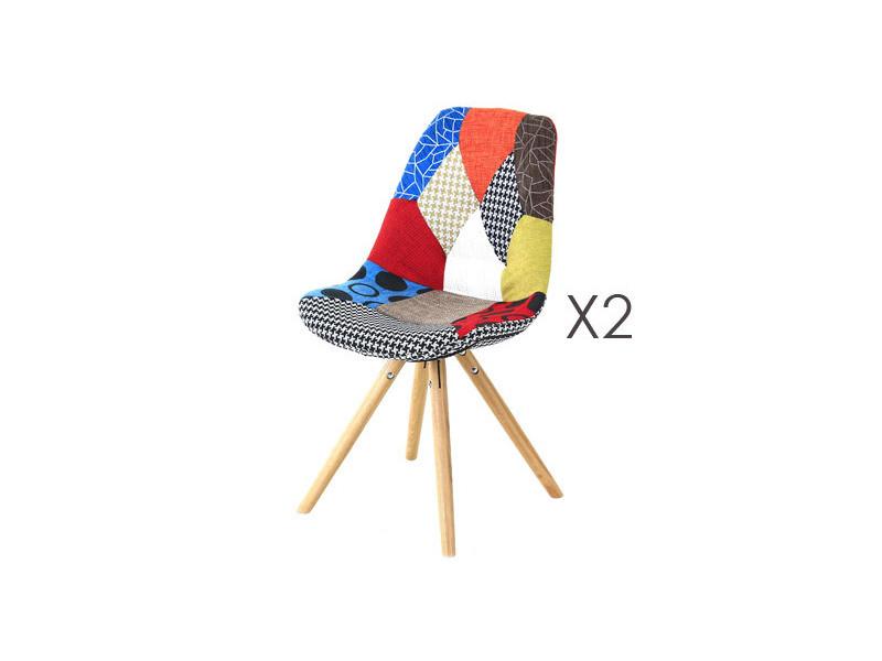 De Multicolore Conforama Vente 2 Lot Chaises Chaise Patchwork 6Y7bfgvIy