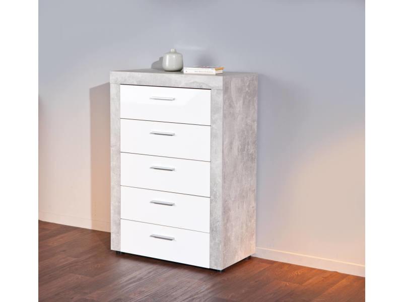 Commode 5 tiroirs, en stratifié effet marbre et façade laquée blanc mat, 74x40x105 cm 8052773561013