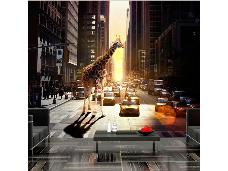 Papier peint girafe à new york A1-4XLFTNT0845