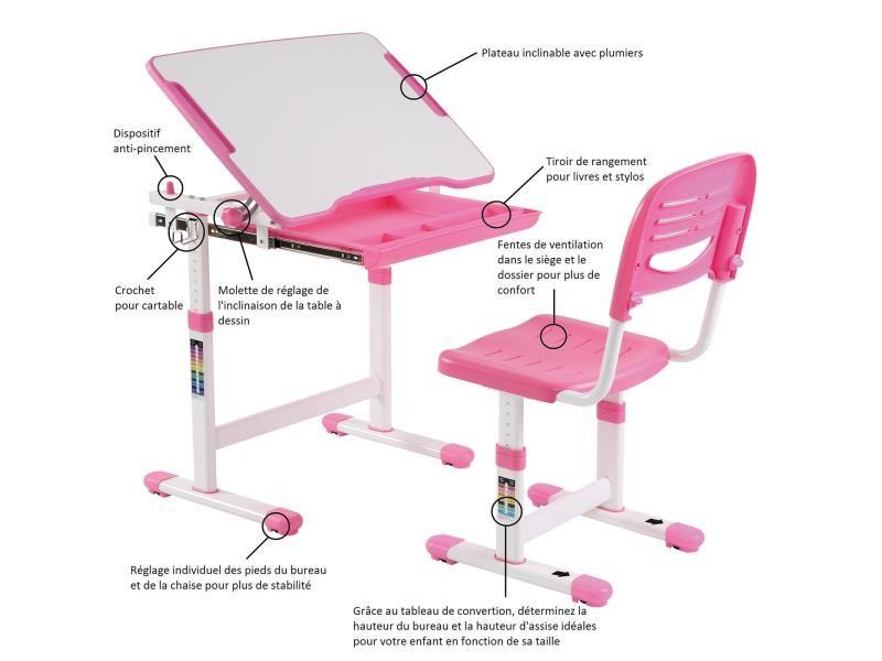 Ensemble bureau et chaise pour enfant alumno table à dessin
