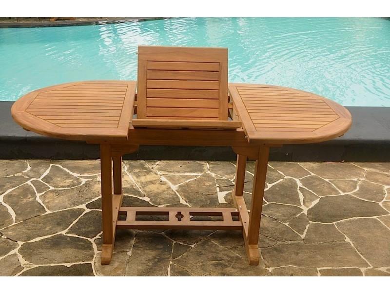 Table kajang 6 : table de jardin ovale extensible en teck brut 6 ...