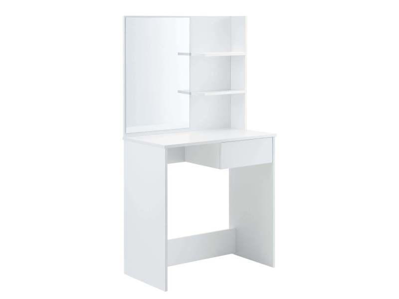 Coiffeuse design avec miroir tiroir étagères commode de coiffure stylée 141 cm blanc helloshop26 03_0005025