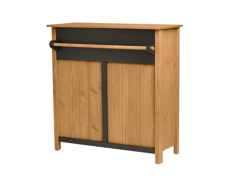 Bar 2 tiroirs bois/noir - chica - l 110 x l 45 x h 108 - neuf