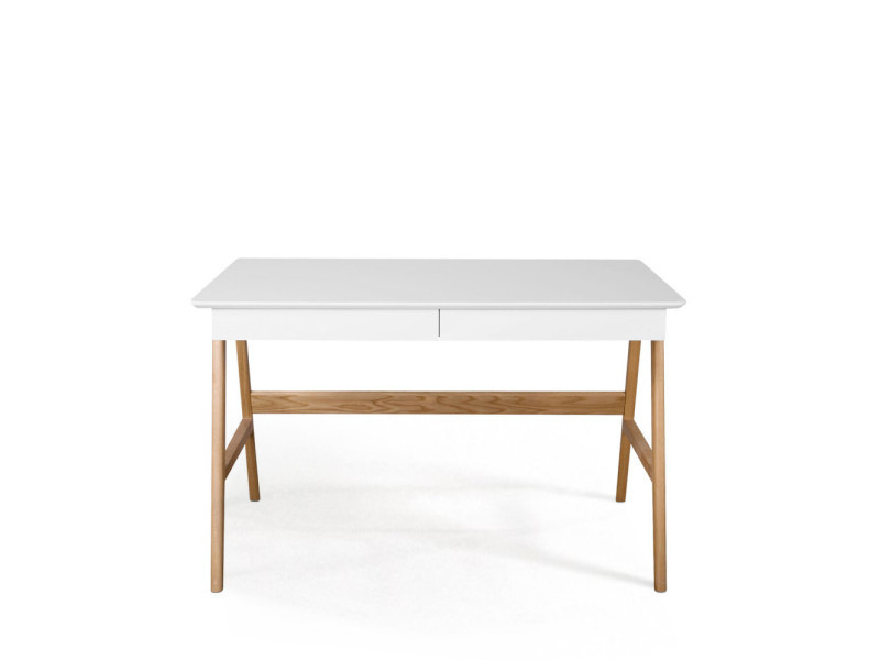Skoll bureau scandinave laque et bois 120cm couleur blanc 470005 vente de bureau conforama - Bureau bois scandinave ...