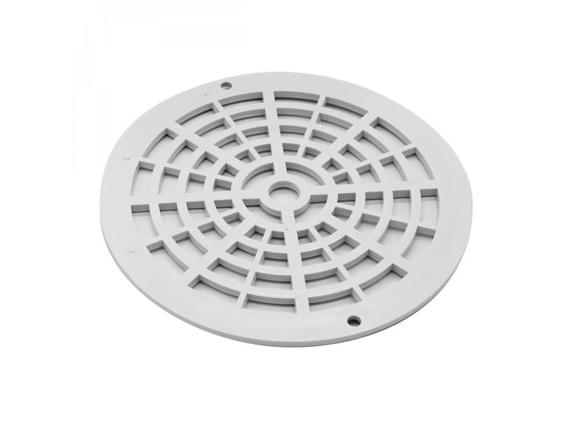 Grille bonde de fond ronde pour piscine - diam 17,5 cm - blanc