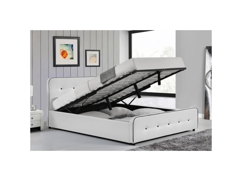 Lit london - structure de lit capitonnée blanc avec coffre de rangement intégré - 140x190 cm