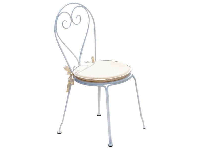 Chaise jardin en fer forgé coloris blanc - dim : h 90 x l 42 x p 52 cm. A usage professionnel -pegane-