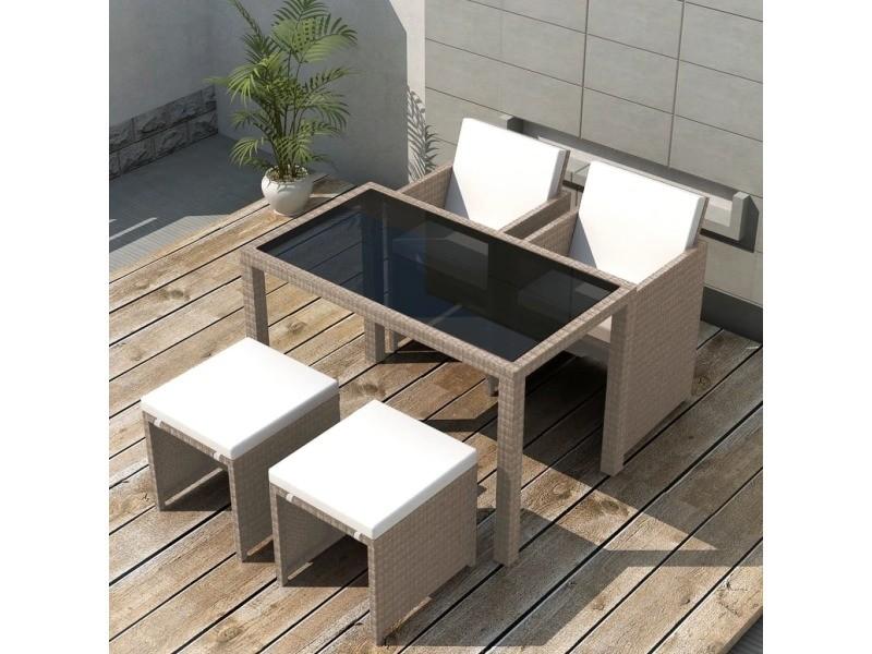 Vidaxl jeu de mobilier d\'extérieur 11 pcs gris/beige résine tressée ...