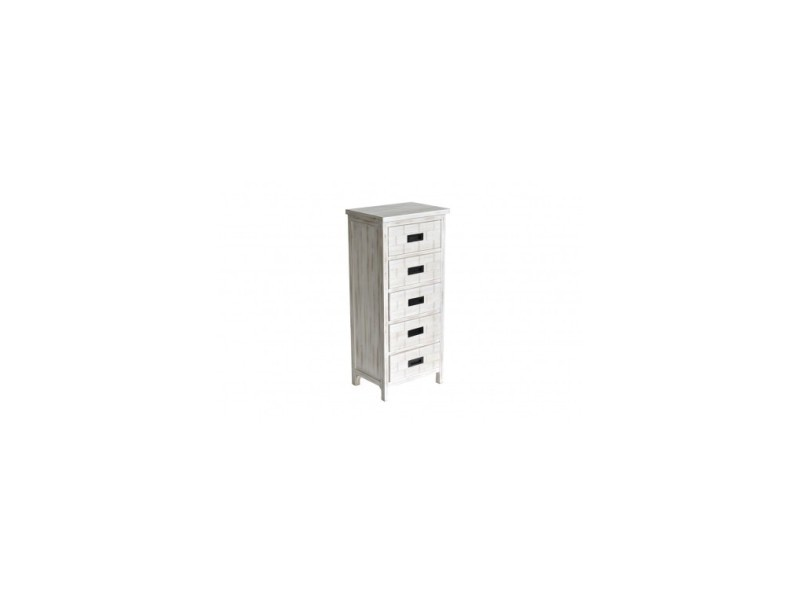 meuble haut 5 tiroirs bois blanc ceruse dakota