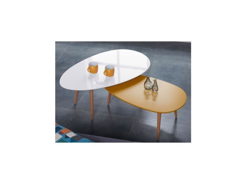 Stone table basse ovale scandinave jaune moutarde laqué - l 88 x l ...