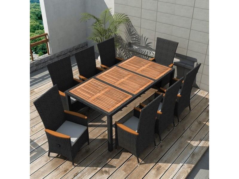 Vidaxl mobilier de jardin 17 pcs noir bois d\'acacia résine ...