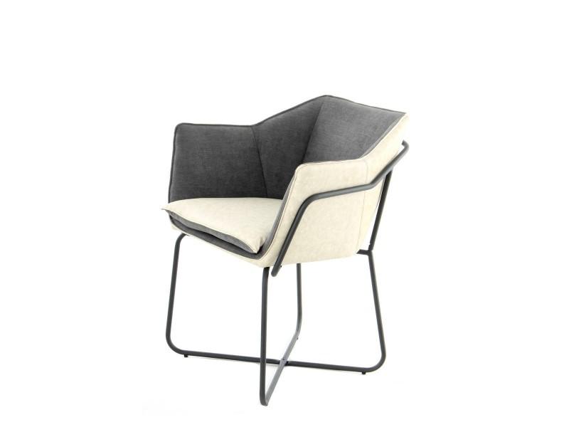 Marietta fauteuil moderne bi-tons anthracite et crème